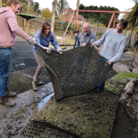 Vodafone volunteers helping to put down new netting