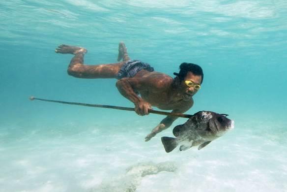 man swimming underwater and fishing